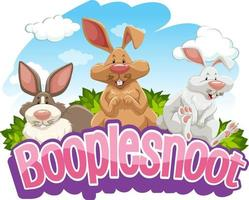 Many rabbits cartoon character with Booplesnoot font banner isolated vector