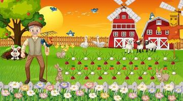 Farm scene at sunset with old farmer man and cute animals vector