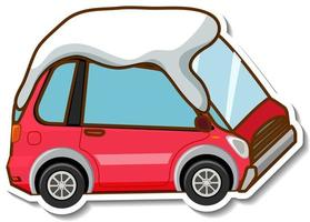 A sticker template with mini car covered snow isolated vector