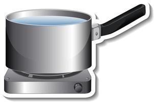 A sticker template of pot with handle on gas stove isolated vector