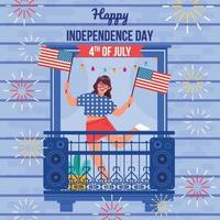 Woman Celebrate Fourth July vector