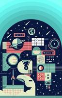 astronauta en expedición espacial vector