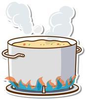 sopa hirviendo en una olla en la etiqueta de la estufa vector