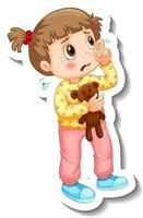Sticker template with a little girl crying cartoon character isolated vector