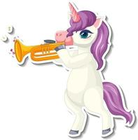 Cute unicorn stickers with a purple unicorn playing trumpet vector