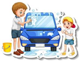 A sticker template with father washing car with his son vector