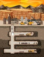 Landscape of coal mine industry with underground vector