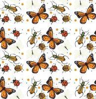 patrón sin fisuras con muchos insectos sobre fondo blanco vector