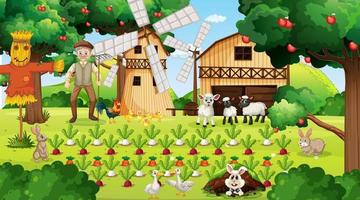 Farm scene at daytime with old farmer man and cute animals vector