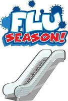 Flu Season font in cartoon style with escalator isolated vector