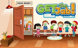 Get the Jab font banner with many kids waiting in a queue in hospital scene vector
