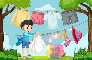 Outdoor scene with a boy hanging clothes on clotheslines vector