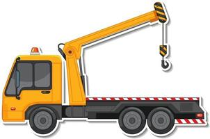 Sticker design with side view of tow truck isolated vector