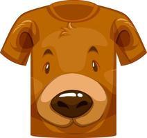 parte delantera de la camiseta con cara de lindo patrón de oso vector