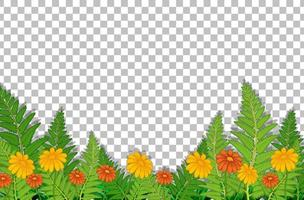 Flower field with leaves frame vector