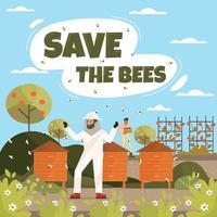 Honey Bee Plantation Concept vector