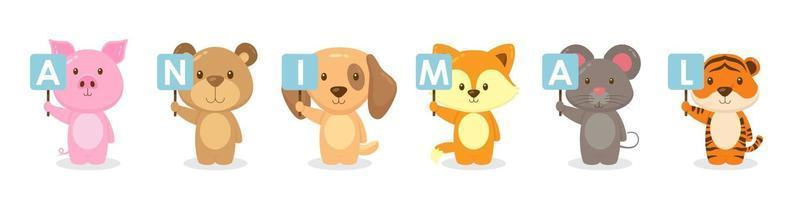 Cute Animal Characters Holding Board Signs vector