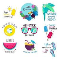 Summer phrases and icons vector lettering set
