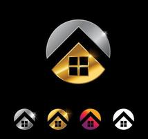 Golden Circle Home Vector Sign Set