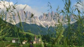 Val di Funes a fairy tale mountain landscape in the Dolomite video