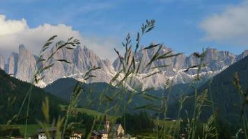 Calm day in Funes Valley with Clouds and Mountains video