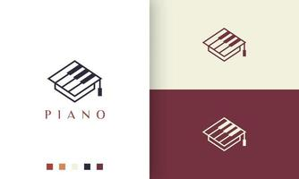 simple and modern piano school academy logo or icon vector