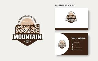 Mountain Adventure and Outdoor Vintage Logo Template. Badge or Emblem Style. Vector Illustration