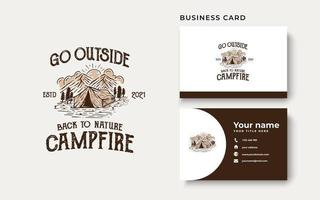 Campfire Mountain and Outdoor Vintage Logo Template. Badge or Emblem Style. Vector Illustration