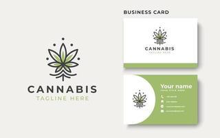 Monoline Cannabis Logo Template. Vector Illustration