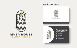 River House Lineart Logo Template Isolated in White Background vector