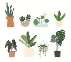 Various plant pots for home gardening. flat design style minimal vector illustration.