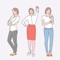 Three gestures of a business woman. hand drawn style vector design illustrations.