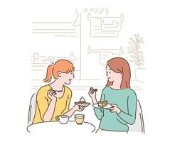 Two friends are chatting while sitting in a cafe, eating a piece of cake. hand drawn style vector design illustrations.