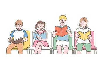 Cute children sitting on chairs and reading books. hand drawn style vector design illustrations.