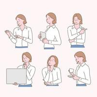 Collection of various gestures of businessmen and women. hand drawn style vector design illustrations.