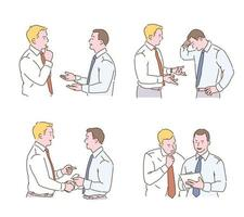 Various gestures of two business men. hand drawn style vector design illustrations.