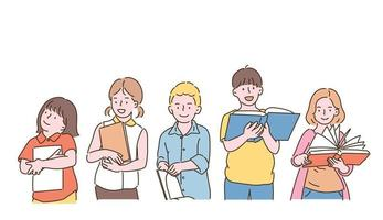 Cute children holding books and reading. hand drawn style vector design illustrations.