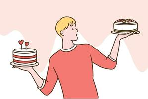 A man is holding a cake in both hands and making a choice. hand drawn style vector design illustrations.