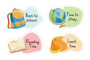 back to school stickers set vector