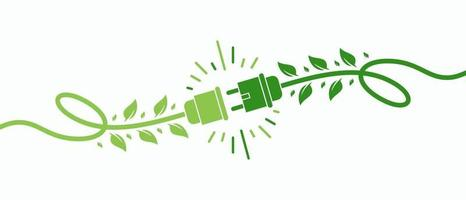 Green energy electricity, electric plug icon sign with cable and leaf vector Illustration
