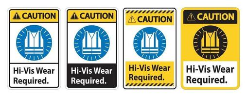 Caution Sign Hi-Vis Wear Required on white background vector