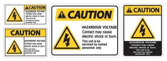 Caution Hazardous Voltage Contact May Cause Electric Shock Or Burn Sign On White Background vector