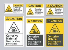 señal de precaución materiales corrosivos, use protección requerida vector