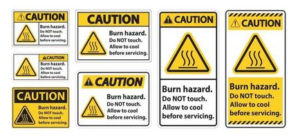 Caution Burn hazard safety,Do not touch label Sign on white background vector