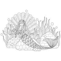 Beautiful mermaid hand drawn for adult coloring book vector
