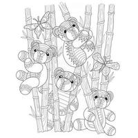 Teddy bears in the bamboo forest hand drawn for adult coloring book vector