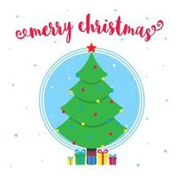 Merry Christmas greeting postcard with christmas fir and text flat style vector illustration. Celebrating christmas and happy new year card with gifts and tree isolated on snowflakes background.