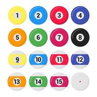 Billiard, snooker or pool balls flat style design vector illustration set isolated on white background. Symbols of the pool snooker sport game.