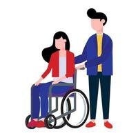 Young woman sitting in a wheelchair and male boy helper hold it. Flat style design vector illustration isolated on white background