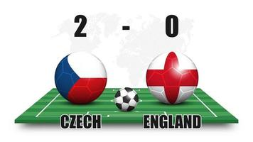Czech vs England . Soccer ball with national flag pattern on perspective football field . Dotted world map background . Football match result and scoreboard . Sport cup tournament . 3D vector design .